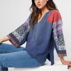Free People Shibuya Patchwork Tunic Top Tee Shirt